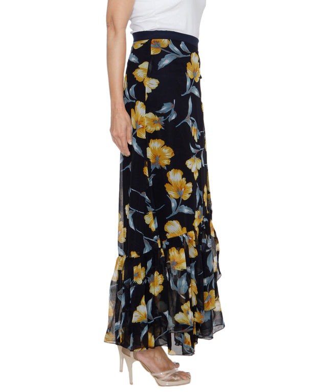 DeeVineeTi Women's Georgette Dark Blue Floral Printed Ruffle Long Wrap-Around Skirt WA000207 FreeSize Ankle Length Right