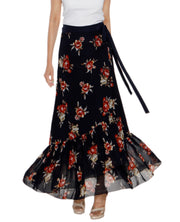 DeeVineeTi Women's Georgette Dark Blue Floral Printed Ruffle Long Wrap-Around Skirt WA000208 FreeSize Ankle Length Front