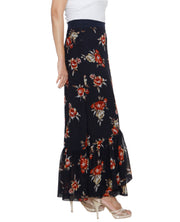 DeeVineeTi Women's Georgette Dark Blue Floral Printed Ruffle Long Wrap-Around Skirt WA000208 FreeSize Ankle Length Right