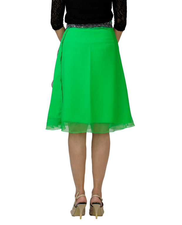 DeeVineeTi Women's Georgette Green Solid Wrap-Around Skirt WA000139 Freesize Short Back