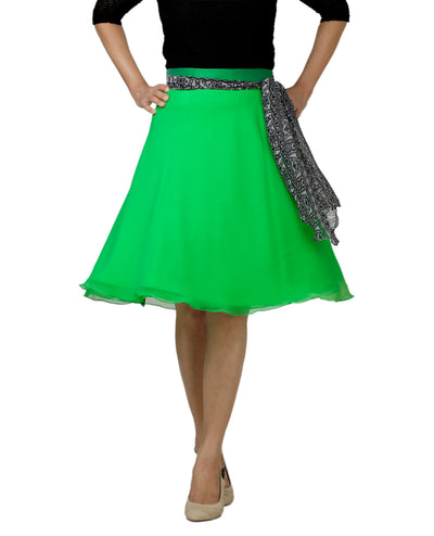 DeeVineeTi Women's Georgette Green Solid Wrap-Around Skirt WA000139 Freesize Short Front