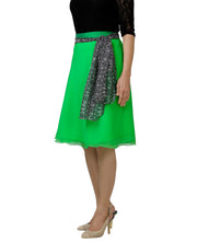 DeeVineeTi Women's Georgette Green Solid Wrap-Around Skirt WA000139 Freesize Short Left