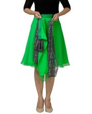 DeeVineeTi Women's Georgette Green Solid Wrap-Around Skirt WA000139 Freesize Short Lined