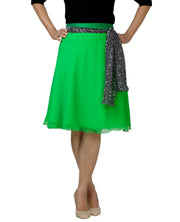DeeVineeTi Women's Georgette Green Solid Wrap-Around Skirt WA000139 Freesize Short