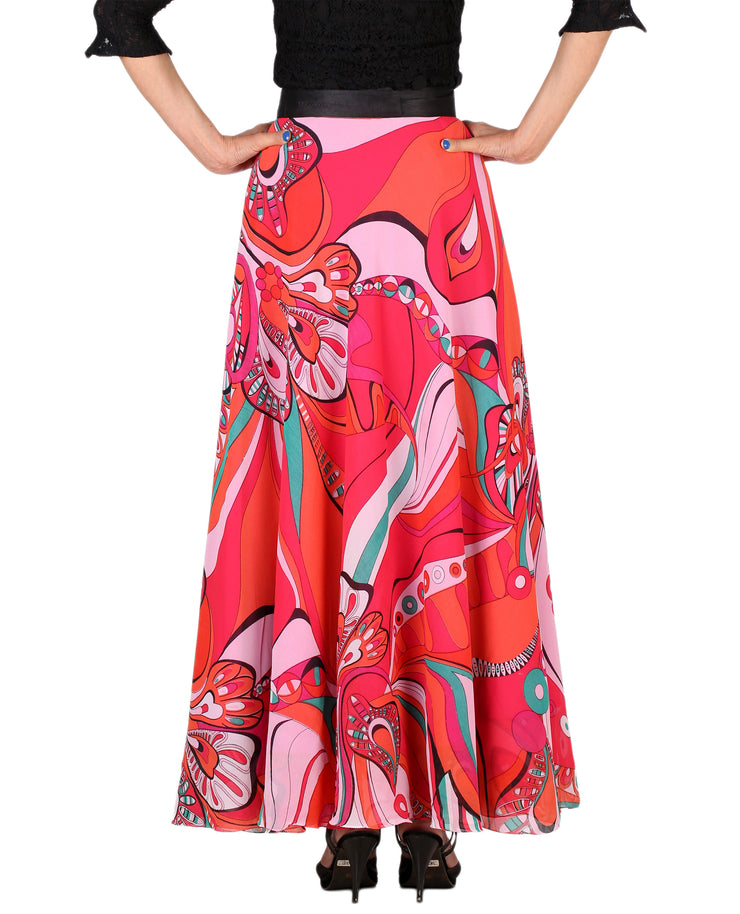 DeeVineeTi Women's Georgette Multicolor Printed Maxi Wrap-Around Skirt WA000161 Freesize Back