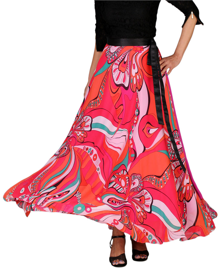 DeeVineeTi Women's Georgette Multicolor Printed Maxi Wrap-Around Skirt WA000161 Freesize Front