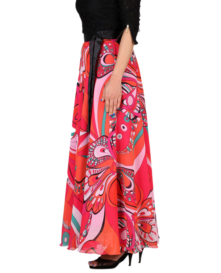 DeeVineeTi Women's Georgette Multicolor Printed Maxi Wrap-Around Skirt WA000161 Freesize Left