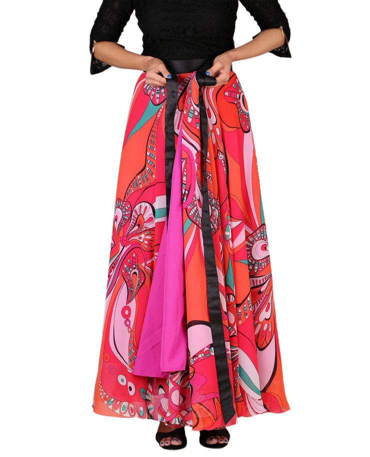 DeeVineeTi Women's Georgette Multicolor Printed Maxi Wrap-Around Skirt WA000161 Freesize Lined