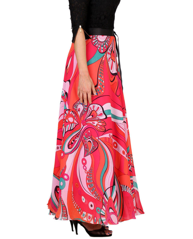 DeeVineeTi Women's Georgette Multicolor Printed Maxi Wrap-Around Skirt WA000161 Freesize Right