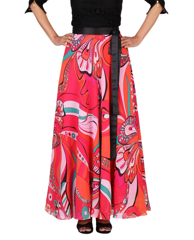 DeeVineeTi Women's Georgette Multicolor Printed Maxi Wrap-Around Skirt WA000161 Freesize