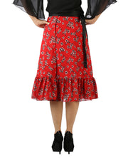 DeeVineeTi Women's Georgette Red Floral Printed Ruffle Wrap Around Skirt WA000144 Freesize Mid-Calf Back