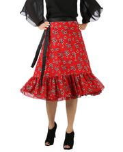 DeeVineeTi Women's Georgette Red Floral Printed Ruffle Wrap Around Skirt WA000144 Freesize Mid-Calf Front