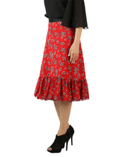 DeeVineeTi Women's Georgette Red Floral Printed Ruffle Wrap Around Skirt WA000144 Freesize Mid-Calf Left