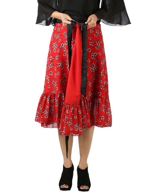 DeeVineeTi Women's Georgette Red Floral Printed Ruffle Wrap Around Skirt WA000144 Freesize Mid-Calf Lined