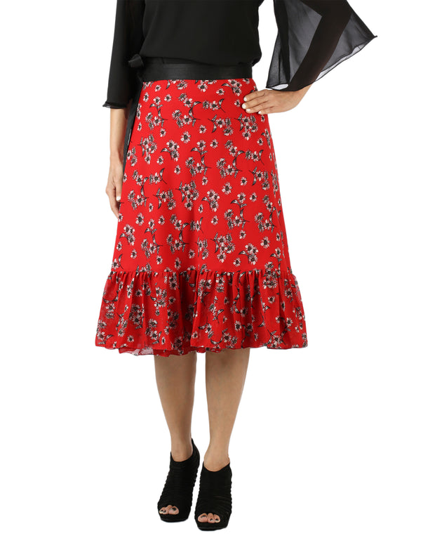 DeeVineeTi Women's Georgette Red Floral Printed Ruffle Wrap Around Skirt WA000144 Freesize Mid-Calf