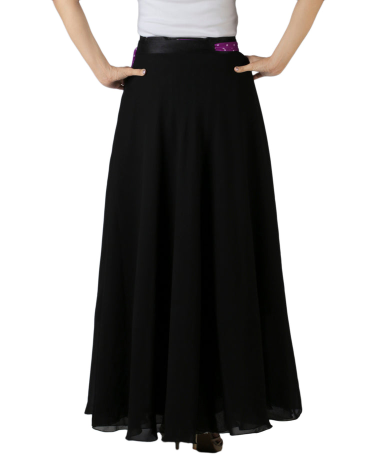 DeeVineeTi Women's Georgette Solid Black Maxi Wrap-Around Skirt WA000175 Freesize Back