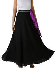DeeVineeTi Women's Georgette Solid Black Maxi Wrap-Around Skirt WA000175 Freesize Front