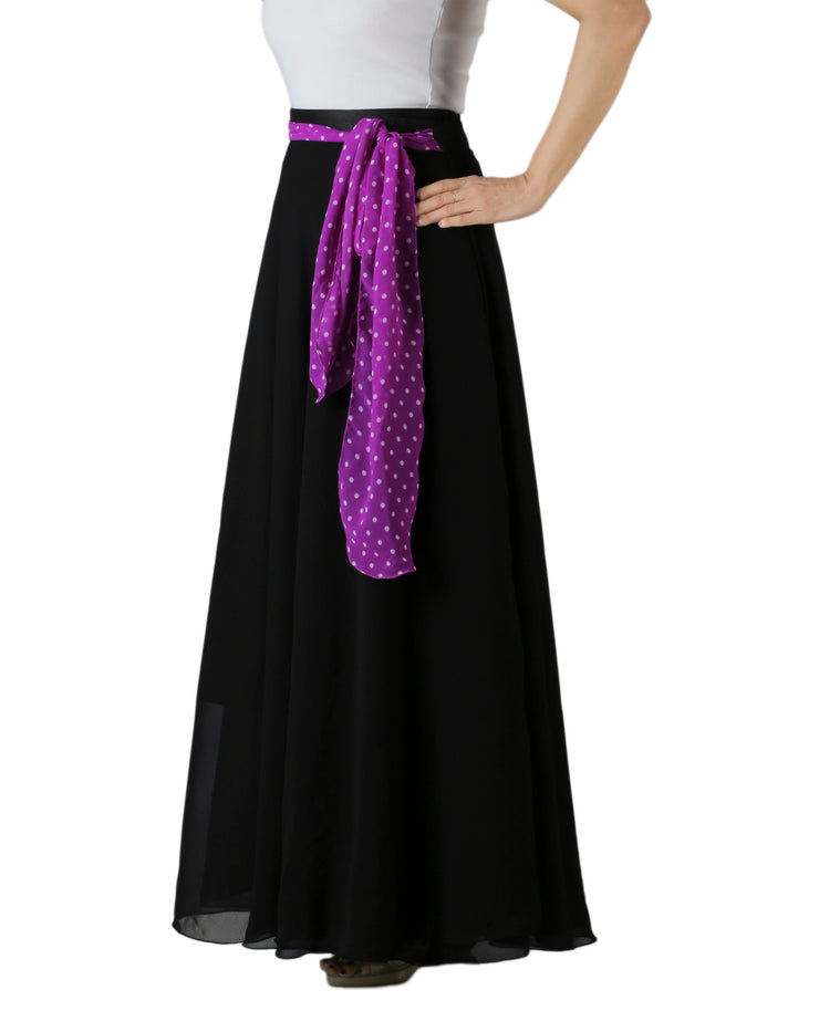 DeeVineeTi Women's Georgette Solid Black Maxi Wrap-Around Skirt WA000175 Freesize Left