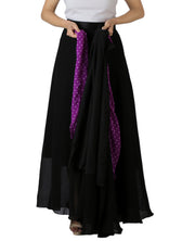 DeeVineeTi Women's Georgette Solid Black Maxi Wrap-Around Skirt WA000175 Freesize Lined