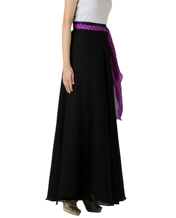 DeeVineeTi Women's Georgette Solid Black Maxi Wrap-Around Skirt WA000175 Freesize Right