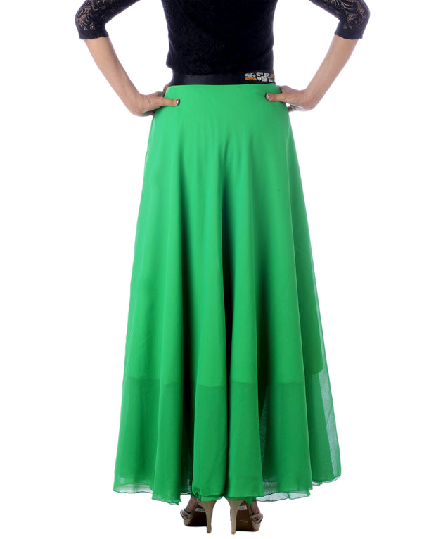 DeeVineeTi Women's Georgette Solid Green Maxi Wrap-Around Skirt WA000174 Freesize Back