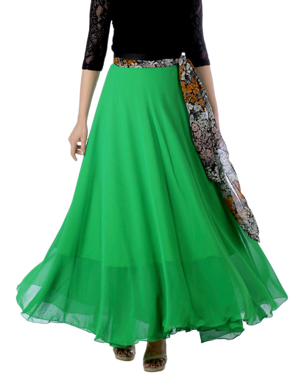 DeeVineeTi Women's Georgette Solid Green Maxi Wrap-Around Skirt WA000174 Freesize Front