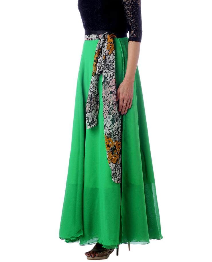 DeeVineeTi Women's Georgette Solid Green Maxi Wrap-Around Skirt WA000174 Freesize Left