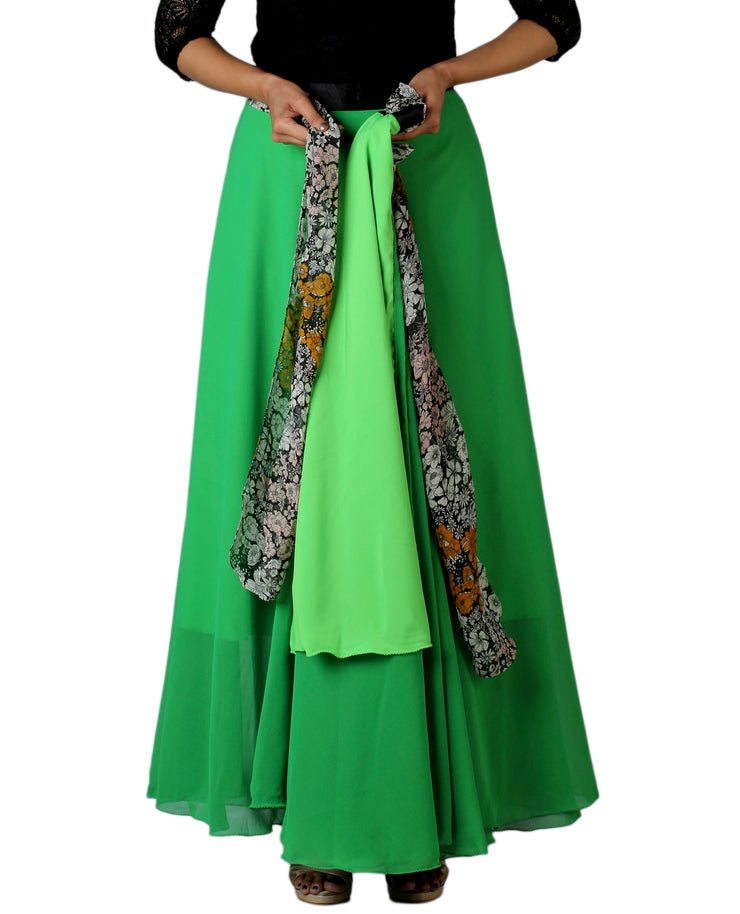 DeeVineeTi Women's Georgette Solid Green Maxi Wrap-Around Skirt WA000174 Freesize Lined
