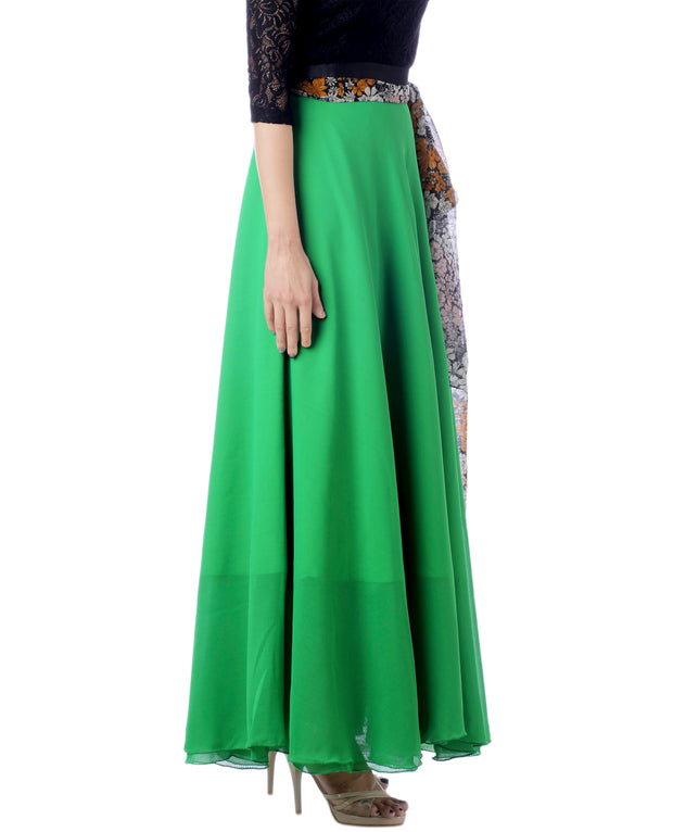 DeeVineeTi Women's Georgette Solid Green Maxi Wrap-Around Skirt WA000174 Freesize Right