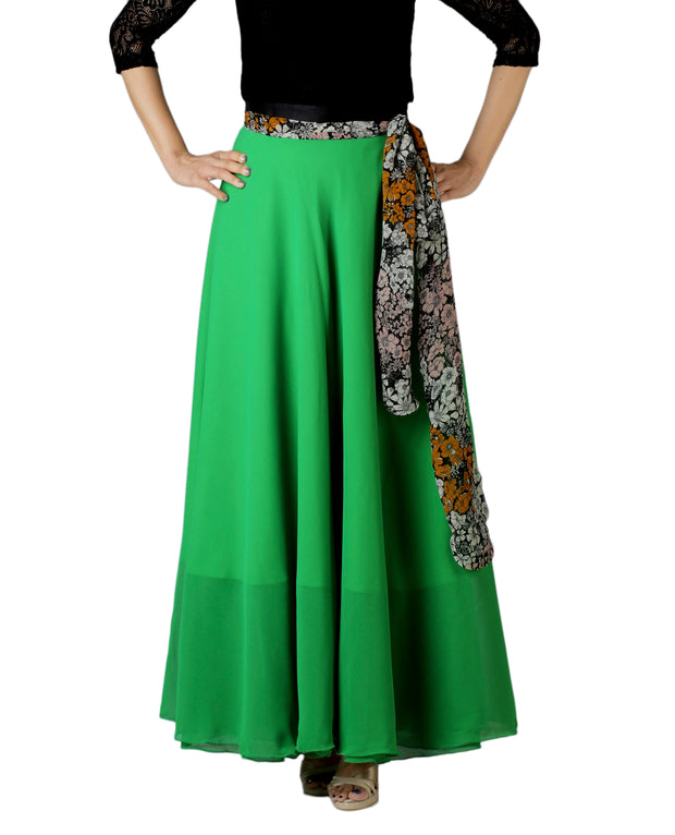 DeeVineeTi Women's Georgette Solid Green Maxi Wrap-Around Skirt WA000174 Freesize