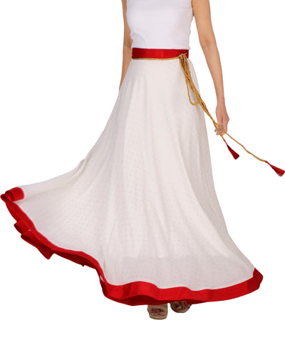 DeeVineeTi Women's Georgette White Foil Maxi Lehenga Style Wrap-Around Skirt WA000183 Freesize Polka Dot Full-Circle Front