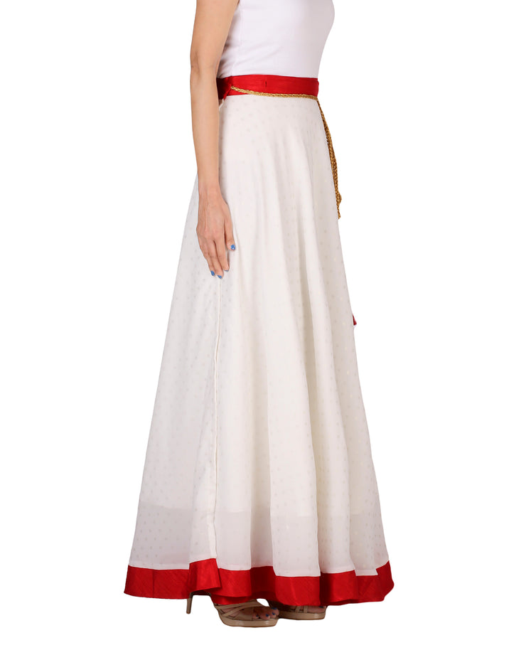 DeeVineeTi Women's Georgette White Foil Maxi Lehenga Style Wrap-Around Skirt WA000183 Freesize Polka Dot Full-Circle Right