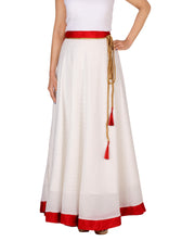 DeeVineeTi Women's Georgette White Foil Maxi Lehenga Style Wrap-Around Skirt WA000183 Freesize Polka Dot Full-Circle