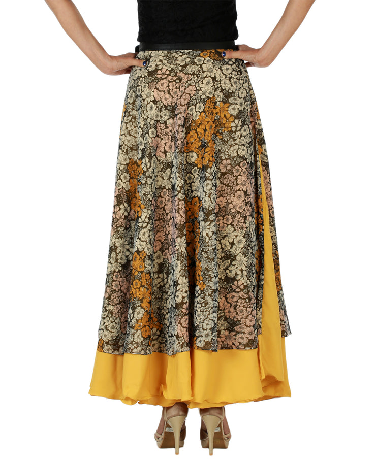 DeeVineeTi Women's Multicolor Chiffon Layered Long Wrap Around Skirt WA000151 Freesize Mustard Floral Crepe Ankle Length Back