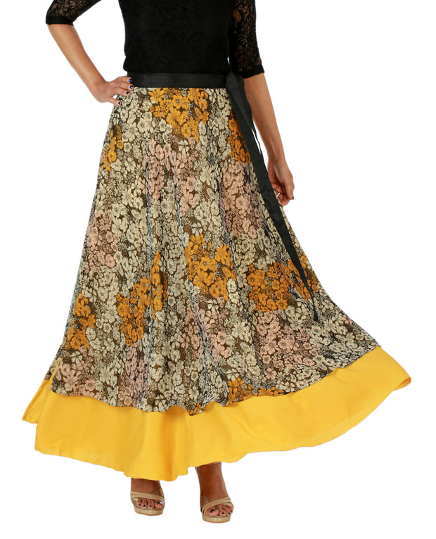 DeeVineeTi Women's Multicolor Chiffon Layered Long Wrap Around Skirt WA000151 Freesize Mustard Floral Crepe Ankle Length Front