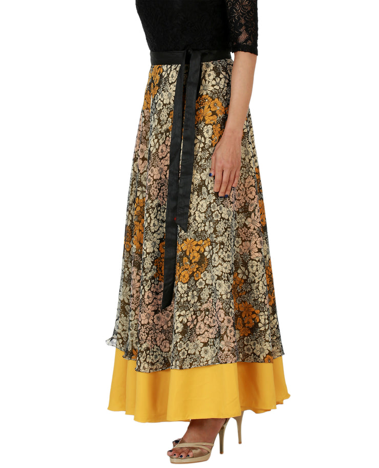 DeeVineeTi Women's Multicolor Chiffon Layered Long Wrap Around Skirt WA000151 Freesize Mustard Floral Crepe Ankle Length Left