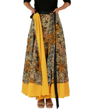 DeeVineeTi Women's Multicolor Chiffon Layered Long Wrap Around Skirt WA000151 Freesize Mustard Floral Crepe Ankle Length Lined