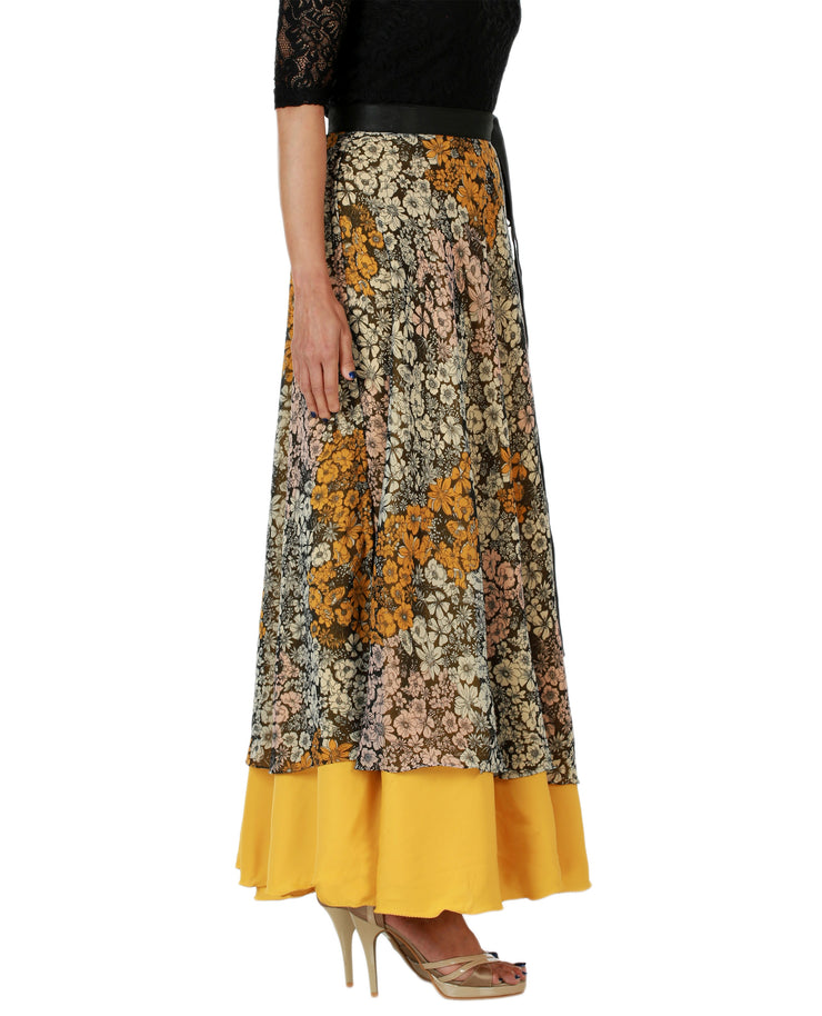 DeeVineeTi Women's Multicolor Chiffon Layered Long Wrap Around Skirt WA000151 Freesize Mustard Floral Crepe Ankle Length Right