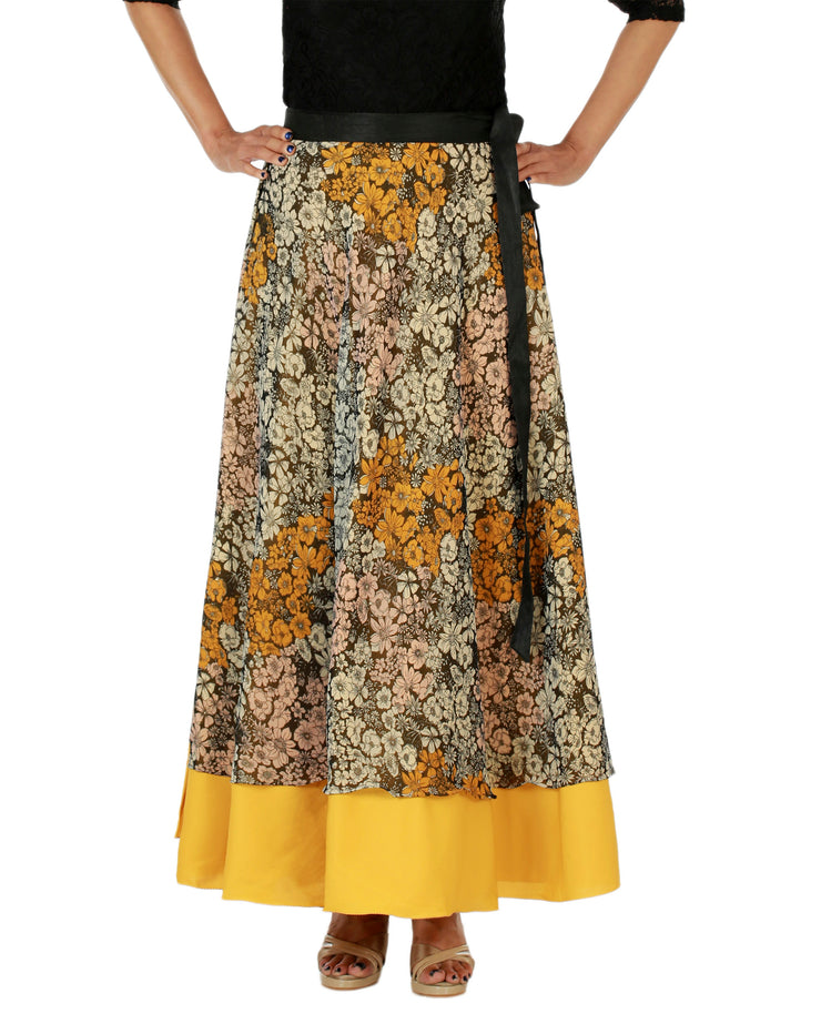 DeeVineeTi Women's Multicolor Chiffon Layered Long Wrap Around Skirt WA000151 Freesize Mustard Floral Crepe Ankle Length