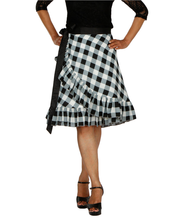 DeeVineeTi Women's Polyester Black Checkered Printed Ruffled Wrap-Around Skirt WA000196 Short FreeSize Front