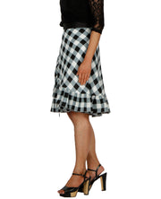 DeeVineeTi Women's Polyester Black Checkered Printed Ruffled Wrap-Around Skirt WA000196 Short FreeSize Left