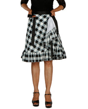 DeeVineeTi Women's Polyester Black Checkered Printed Ruffled Wrap-Around Skirt WA000196 Short FreeSize Lined