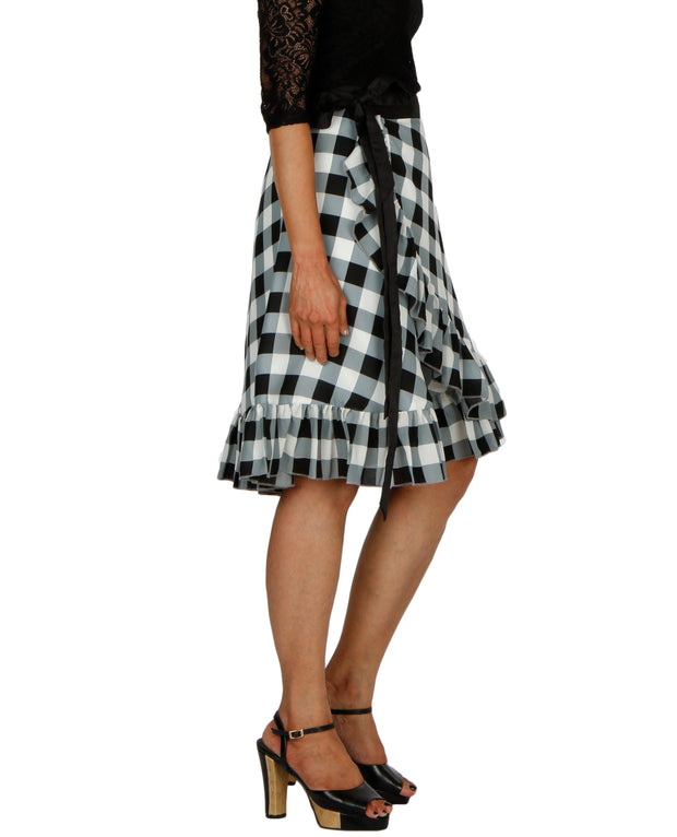 DeeVineeTi Women's Polyester Black Checkered Printed Ruffled Wrap-Around Skirt WA000196 Short FreeSize Right