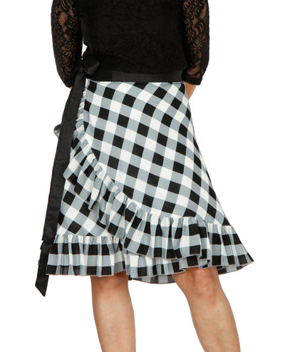 DeeVineeTi Women's Polyester Black Checkered Printed Ruffled Wrap-Around Skirt WA000196 Short FreeSize