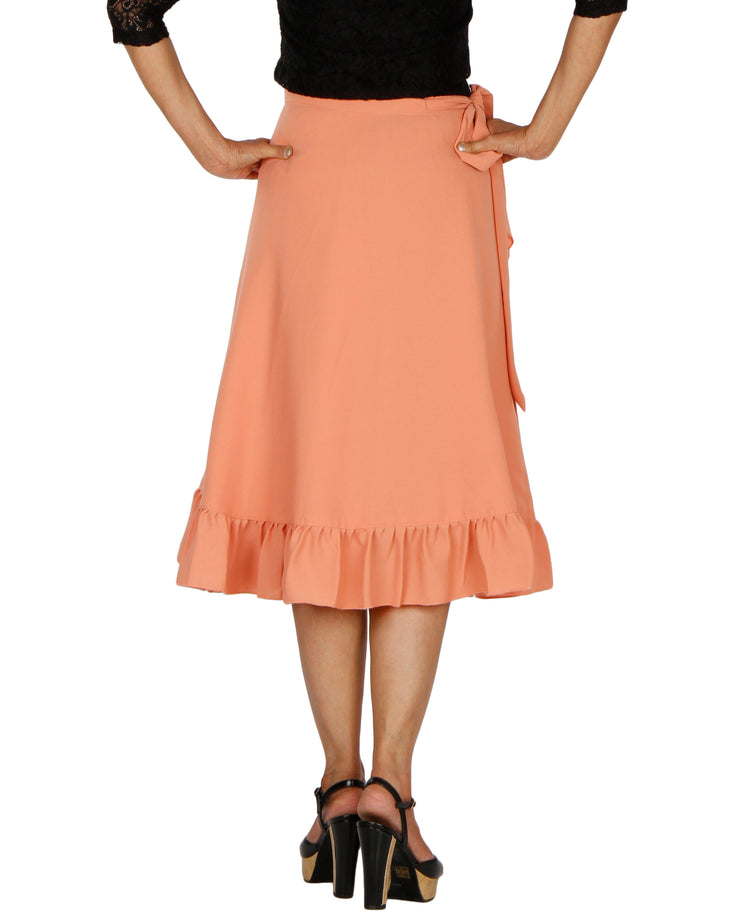 DeeVineeTi Women's Polyester Peach Solid Ruffle Wrap-Around Skirt WA000197 FreeSize Mid-Calf Back