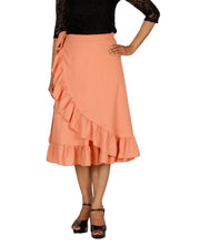 DeeVineeTi Women's Polyester Peach Solid Ruffle Wrap-Around Skirt WA000197 FreeSize Mid-Calf Front
