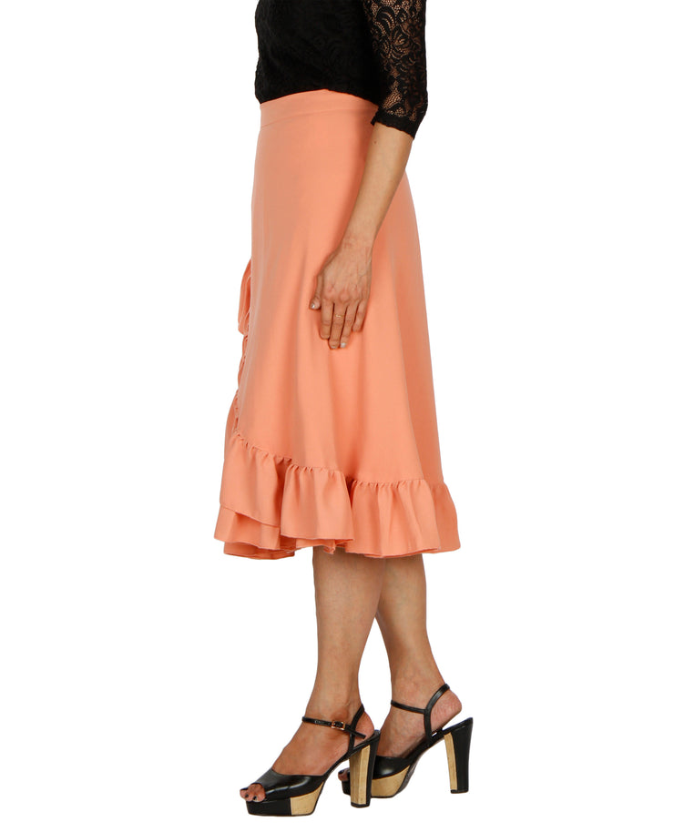 DeeVineeTi Women's Polyester Peach Solid Ruffle Wrap-Around Skirt WA000197 FreeSize Mid-Calf Left