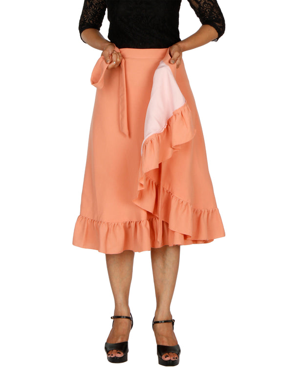 DeeVineeTi Women's Polyester Peach Solid Ruffle Wrap-Around Skirt WA000197 FreeSize Mid-Calf Lined