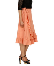 DeeVineeTi Women's Polyester Peach Solid Ruffle Wrap-Around Skirt WA000197 FreeSize Mid-Calf Right