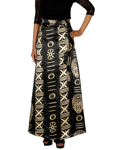 DeeVineeTi Women's Satin Black Printed Long A-Line Wrap-Around Skirt WA000201 FreeSize Maxi Striped Front